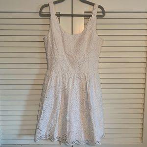 White Cotton Eyelet Calhoun Scoop Neck Flare Dress